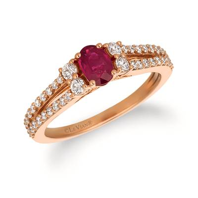 14K Strawberry Gold® Passion Ruby™ 1/2 cts. Ring with Vanilla Diamonds® 3/8 cts. | YRBS 85