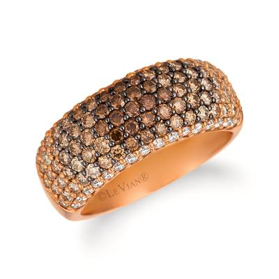 14K Strawberry Gold® Ring with Chocolate Ombré Diamonds® 1  3/8 cts., Vanilla Diamonds® 1/3 cts. | YRBU 1