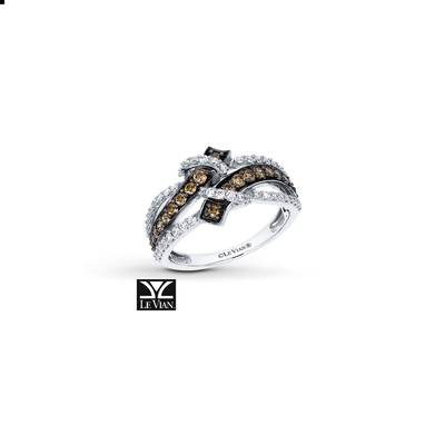 14K Vanilla Gold® Ring with Chocolate Diamonds® 3/8 cts., Vanilla Diamonds® 1/3 cts. | YRCA 2-070
