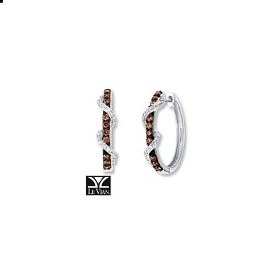 14K Vanilla Gold® Earrings with Chocolate Diamonds® 1/3 cts., Vanilla Diamonds® 1/5 cts. | YRCA 49