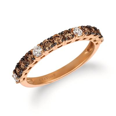 14K Strawberry Gold® Ring with Chocolate Diamonds® 1/2 cts., Vanilla Diamonds® 1/5 cts. | YRCC 1BRW-07