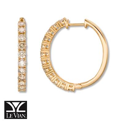 14K Honey Gold™ Earrings with Nude Diamonds™ 1  1/2 cts., Chocolate Diamonds® 1/2 cts. | YRCC 3BRC