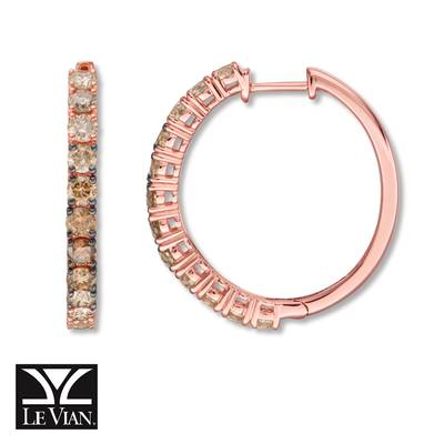 14K Strawberry Gold® Earrings with Candied Pecan Diamonds® 3/4 cts., Chocolate Diamonds® 1 cts., Nude Diamonds™ 1/3 cts. | YRCC 3OMB