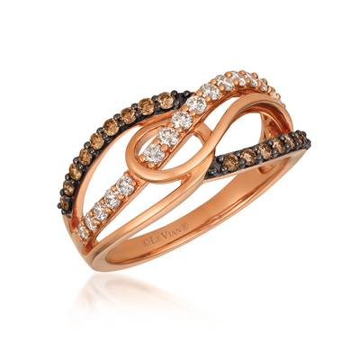 14K Strawberry Gold® Ring with Nude Diamonds™ 1/3 cts., Chocolate Diamonds® 1/4 cts. | YRCF 15
