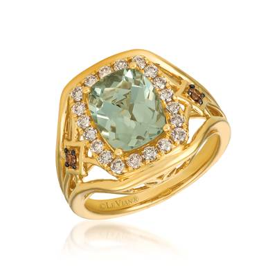 14K Honey Gold™ Mint Julep Quartz™ 2  1/3 cts. Ring with Nude Diamonds™ 1/2 cts., Chocolate Diamonds® 1/20 cts. | YRCF 64