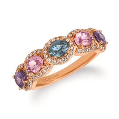 14K Strawberry Gold® MultI-Color Spinel 1  3/4 cts. Ring with Vanilla Diamonds® 1/3 cts. | YRCG 61