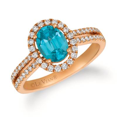 14K Strawberry Gold® Blueberry Zircon™ 1  1/3 cts. Ring with Vanilla Diamonds® 3/8 cts. | YRCG 69