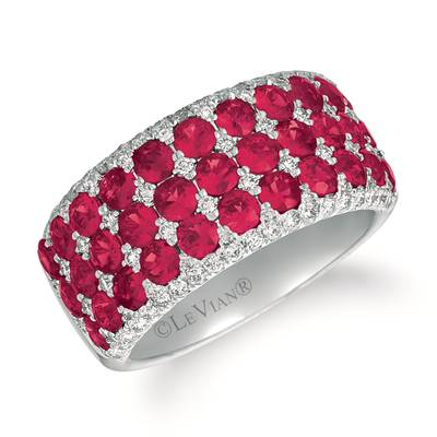 14K Vanilla Gold® Passion Ruby™ 2  7/8 cts. Ring with Vanilla Diamonds® 1/2 cts. | YRCG 74