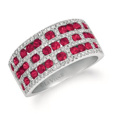 14K Vanilla Gold® Passion Ruby™ 1  1/3 cts. Ring with Vanilla Diamonds® 5/8 cts. | YRCG 75