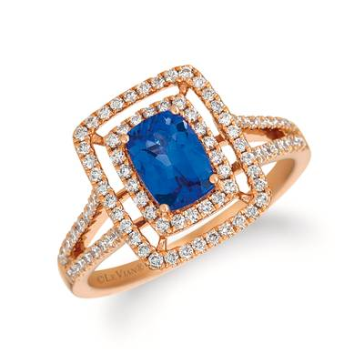 14K Strawberry Gold® Blueberry Tanzanite® 7/8 cts. Ring with Vanilla Diamonds® 1/2 cts. | YRCG 84