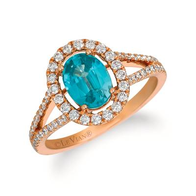 14K Strawberry Gold® Blueberry Zircon™ 1  1/3 cts. Ring with Vanilla Diamonds® 3/8 cts. | YRCG 87