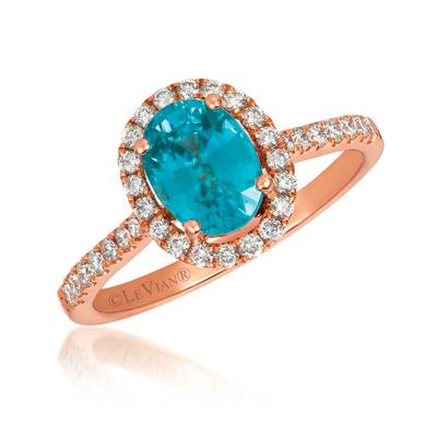 14K Strawberry Gold® Blueberry Zircon™ 1  5/8 cts. Ring with Vanilla Diamonds® 1/3 cts. | YRCH 39