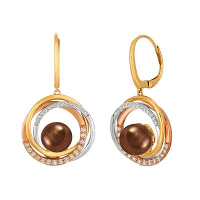 14K Tri Color Gold Chocolate Pearls®  cts. Earrings with Vanilla Diamonds® 3/8 cts. | YRCI 56