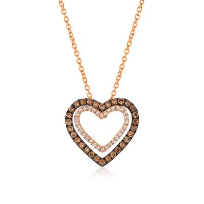 14K Strawberry Gold® Pendant with Chocolate Diamonds® 1/5 cts., Vanilla Diamonds® 1/15 cts. | YRCI 76