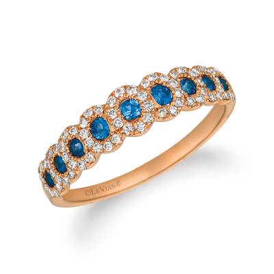 14K Strawberry Gold® Blueberry Sapphire™ 1/4 cts. Ring with Vanilla Diamonds® 1/4 cts. | YRCN 56