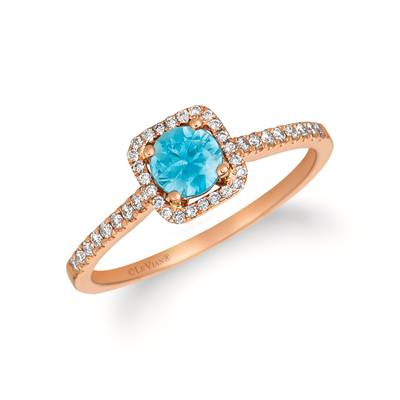 14K Strawberry Gold® Blueberry Zircon™ 1/2 cts. Ring with Vanilla Diamonds® 1/6 cts. | YRCO 4