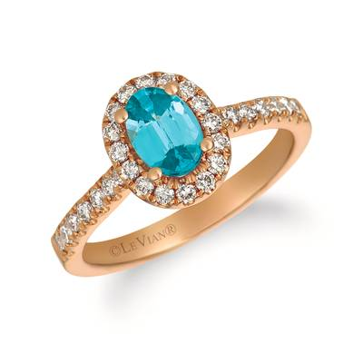 14K Strawberry Gold® Blueberry Zircon™ 7/8 cts. Ring with Nude Diamonds™ 3/8 cts. | YRCO 5CR