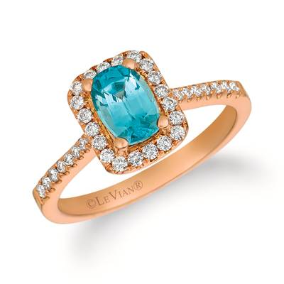 14K Strawberry Gold® Blueberry Zircon™ 1 cts. Ring with Vanilla Diamonds® 1/3 cts. | YRCO 9