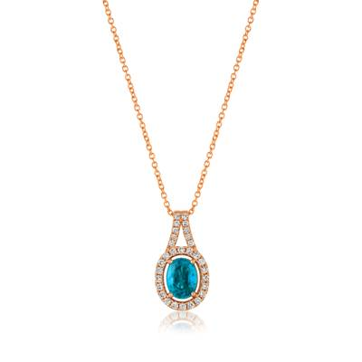 14K Strawberry Gold® Blueberry Zircon™ 1  1/3 cts. Pendant with Vanilla Diamonds® 1/3 cts. | YRCP 2
