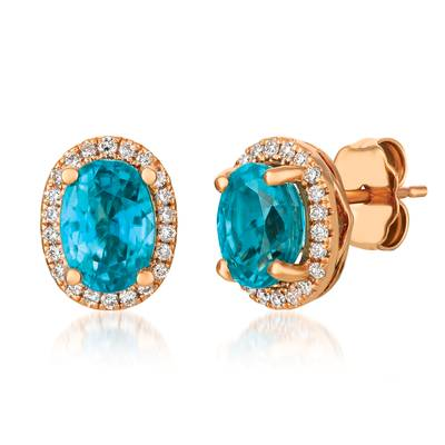 14K Strawberry Gold® Blueberry Zircon™ 1  3/4 cts. Earrings with Vanilla Diamonds® 1/6 cts. | YRCP 3