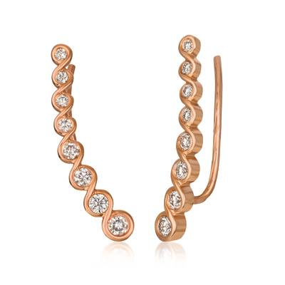 14K Strawberry Gold® Ear Climber with Nude Diamonds™ 1/2 cts. | YRCQ 8