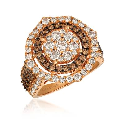 14K Strawberry Gold® Ring with Nude Diamonds™ 1  3/4 cts., Chocolate Diamonds® 7/8 cts. | YRCT 30