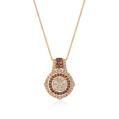14K Strawberry Gold® Pendant with Nude Diamonds™ 1  1/2 cts., Chocolate Diamonds® 1/2 cts. | YRCT 31