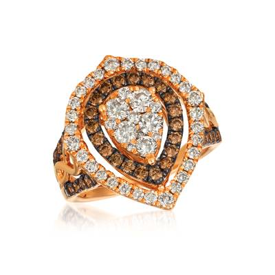 14K Strawberry Gold® Ring with Nude Diamonds™ 1  1/6 cts., Chocolate Diamonds® 3/4 cts. | YRCT 36