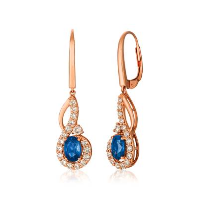 14K Strawberry Gold® Blueberry Sapphire™ 1 cts. Earrings with Nude Diamonds™ 5/8 cts. | YRCT 8