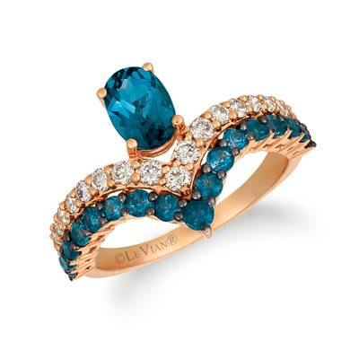 14K Strawberry Gold® Deep Sea Blue Topaz™ 1  1/2 cts. Ring with Nude Diamonds™ 3/8 cts. | YRCV 52