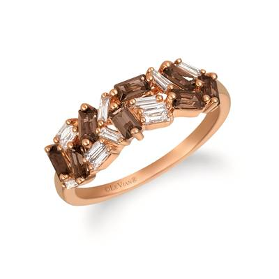 14K Strawberry Gold® Chocolate Quartz® 5/8 cts. Ring with Vanilla Diamonds® 1/5 cts. | YRCV 6