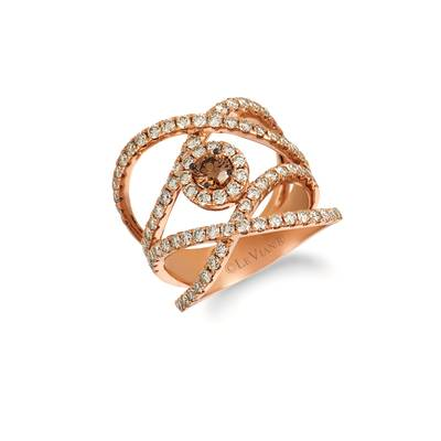 14K Strawberry Gold® Ring with Chocolate Diamonds® 1/3 cts., Nude Diamonds™ 1  5/8 cts. | YRDA 20-070