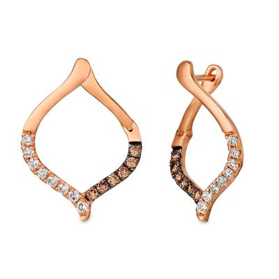 14K Strawberry Gold® Earrings with Nude Diamonds™ 1/3 cts., Chocolate Diamonds® 1/5 cts. | YRDG 1