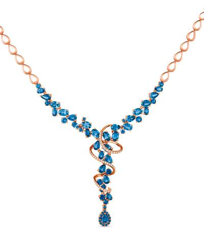 14K Strawberry Gold® Blueberry Sapphire™ 14 1/5 cts. Necklace with Vanilla Diamonds® 3/8 cts. | YRDI 66