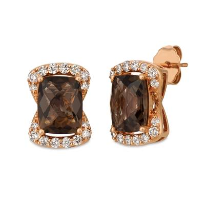 14K Strawberry Gold® Chocolate Quartz® 3  5/8 cts. Earrings with Nude Diamonds™ 1/2 cts. | YRDJ 3