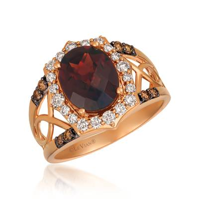 14K Strawberry Gold® Pomegranate Garnet™ 3  1/5 cts. Ring with Nude Diamonds™ 1/2 cts., Chocolate Diamonds® 1/8 cts. | YRDJ 52