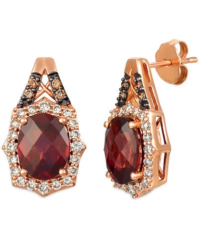14K Strawberry Gold® Pomegranate Garnet™ 4 cts. Earrings with Nude Diamonds™ 1/2 cts., Chocolate Diamonds® 1/10 cts. | YRDJ 54