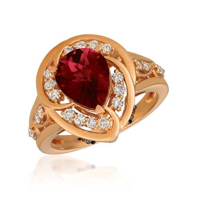 14K Strawberry Gold® Pomegranate Garnet™ 2  5/8 cts. Ring with Chocolate Diamonds® 1/8 cts., Nude Diamonds™ 3/8 cts. | YRDJ 67