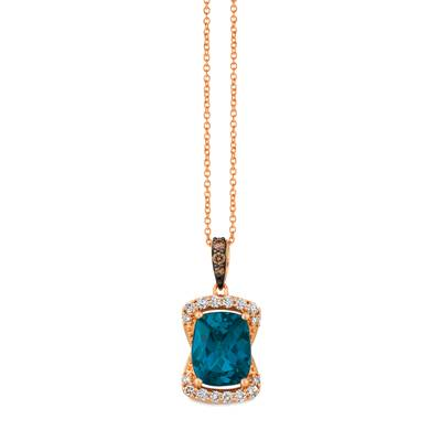 14K Strawberry Gold® Deep Sea Blue Topaz™ 3 cts. Pendant with Chocolate Diamonds® 1/20 cts., Nude Diamonds™ 1/4 cts. | YRDJ 74