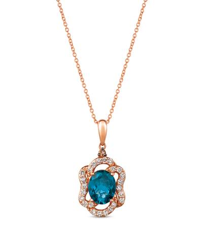14K Strawberry Gold® Deep Sea Blue Topaz™ 3 cts. Pendant with Chocolate Diamonds® 1/10 cts., Nude Diamonds™ 1/2 cts. | YRDJ 80