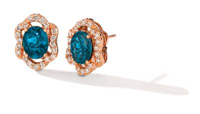 14K Strawberry Gold® Deep Sea Blue Topaz™ 4 cts. Earrings with Nude Diamonds™ 3/4 cts., Chocolate Diamonds® 1/8 cts. | YRDJ 81