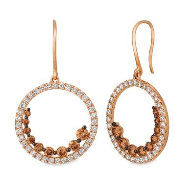 14K Strawberry Gold® Earrings with Chocolate Diamonds® 1 cts., Nude Diamonds™ 1  1/3 cts. | YRDK 21