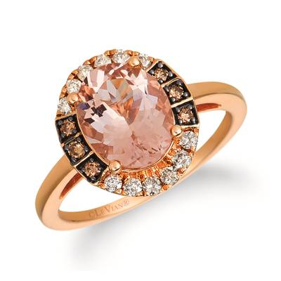 14K Strawberry Gold® Peach Morganite™ 1  7/8 cts. Ring with Nude Diamonds™ 1/5 cts., Chocolate Diamonds® 1/10 cts. | YRDN 105-070