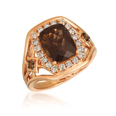 14K Strawberry Gold® Chocolate Quartz® 2  5/8 cts. Ring with Nude Diamonds™ 1/2 cts., Chocolate Diamonds® 1/20 cts. | YRDN 16