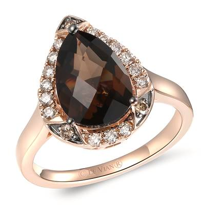 14K Strawberry Gold® Chocolate Quartz® 2  5/8 cts. Ring with Nude Diamonds™ 1/4 cts., Chocolate Diamonds® 1/20 cts. | YRDN 28