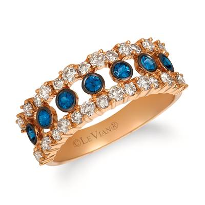 14K Strawberry Gold® Blueberry Sapphire™ 1/3 cts. Ring with Nude Diamonds™ 7/8 cts. | YRDO 19