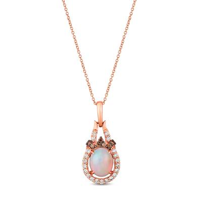 14K Strawberry Gold® Neopolitan Opal™ 1  1/5 cts. Pendant with Chocolate Diamonds® 1/3 cts., Nude Diamonds™ 1/3 cts. | YRDO 37