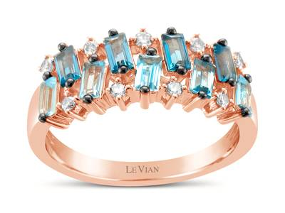 14K Strawberry Gold® Deep Sea Blue Topaz™ 1/2 cts., Blue Topaz 1/2 cts. Ring with Nude Diamonds™ 1/6 cts. | YRDO 64