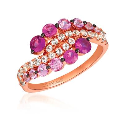 14K Strawberry Gold® Strawberry Ombré® 1  1/8 cts., White Sapphire 1/2 cts. Ring | YRDT 79
