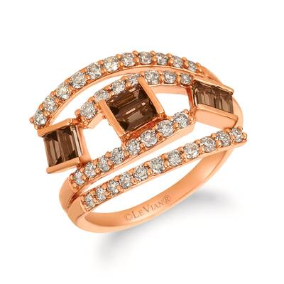14K Strawberry Gold® Chocolate Quartz® 1/2 cts. Ring with Nude Diamonds™ 3/4 cts. | YRDW 10-070